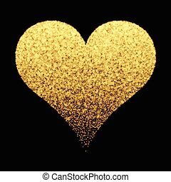Gold sparkle heart background - Decorative background with...