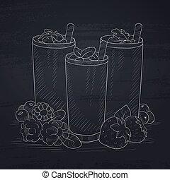 Fresh berries smoothies - Various fresh berries smoothies in...