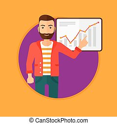 Man making business presentation. - A hipster man with the...