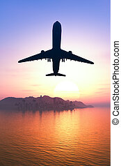 Airplane flying over the city and the beach sunrise 3d...
