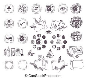 Astrology esoteric vector icons - Mystical geometry...