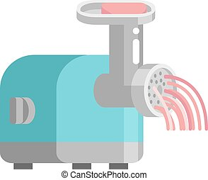 Meat grinder front view vector illustration. Classic meat...