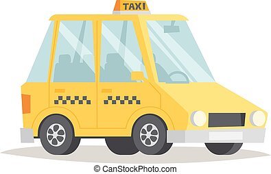 Yellow taxi vector illustration.
