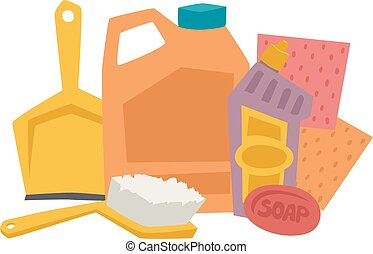 House cleaning hygiene and products flat vector icons set -...