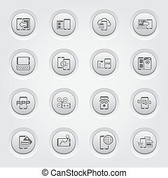 Mobile Devices and Services Icons Set - Button Design Mobile...