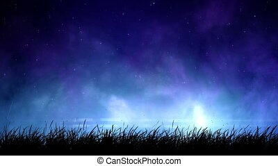 Fog at night sky loop - Magic light in fog at night sky with...