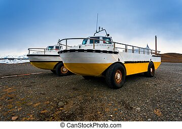Amphibian vehicle closeup - Photo of an amphibian vehicle on...
