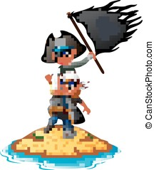 funny pirate - vector illustration of two funny pirate with...