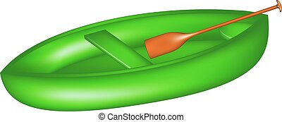 Canoe in green design with paddle