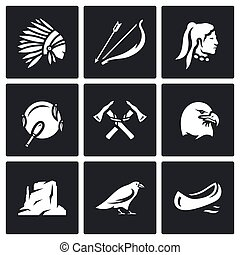 Vector Set of Apaches Icons Injun, Bow and arrow,...