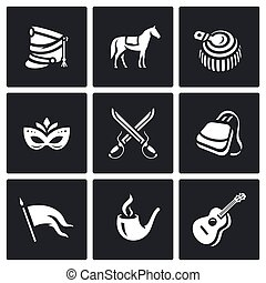 Vector Set of Hussars Icons. Shako, Horse, Epaulettes,...