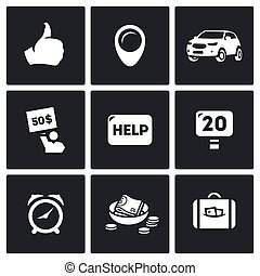 Vector Set of Hitchhiking tourism Icons. Thumb, place, Car,...