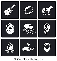 Vector Set of Gypsy Camp Icons. Guitar, Tambourine, Horse,...