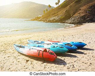 kayaks on the summer  beach
