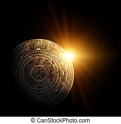 Maya prophecy - Sun and Maya calendar 3d render