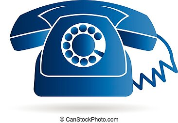 Retro rotary old telephone logo. Vector graphic design