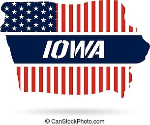 Iowa patriotic map. Vector graphic design illustration