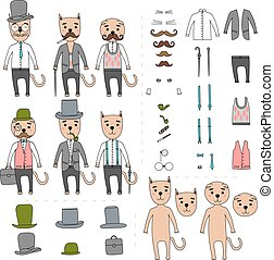 Gentleman cats Elements for selection - Hand Drawn vector...