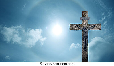 Christian cross panoramic view - Christian cross made of...