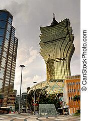 Macao cityscape with famous casino skyscraper.