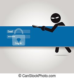 Hacker, Internet security concept flat style vector...