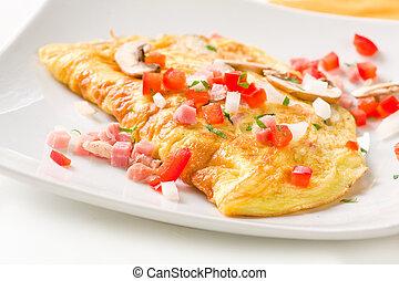 Folded Omlette - Large Folded omlette with ham, peppers,...