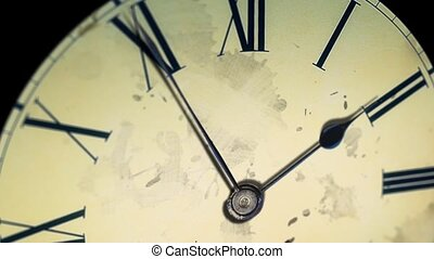 Grunge old clock in the dark with a dirty face. Time Lapse...