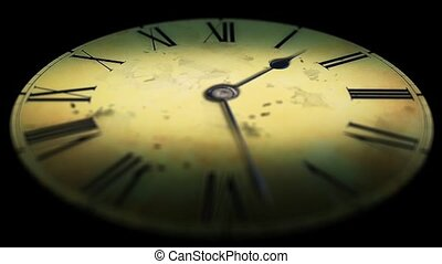 Grunge old clock in the dark. Time lapse hours