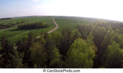 Flying over the forest and field Field road leaving in a...