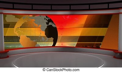 News TV Studio Set 104 - Virtual Green Screen