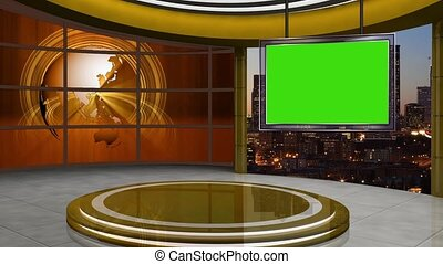 News TV Studio Set -106 - News TV Studio Set 106 - Virtual...