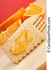 Biscuits, marmalade and orange - Some biscuits, marmalade,...