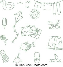 Beach toys doodle for kids with hand draw