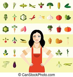 Set of vegetable icons and a gardener woman - Vecctor image...