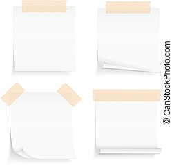 Paper with Tape - Paper notes with tape, four blank paper...