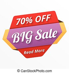Big Sale - Big sale banner, 70 off, sale tag, vector eps10...