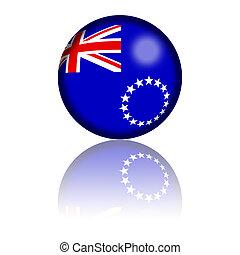 Cook Islands Flag Sphere 3D Rendering - 3D sphere or badge...