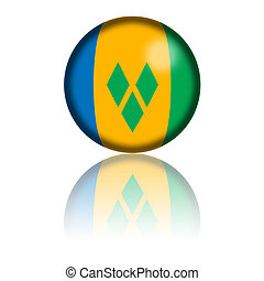 Saint Vincent and the Grenadines Flag Sphere 3D Rendering -...