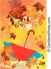 autumn with an umbrella,