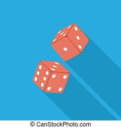 Craps flat icon - Craps icon. Flat vector related icon with...