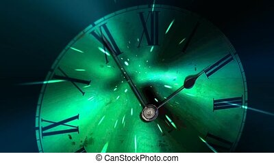 The hands move quickly. Futuristic clock, concept of time...