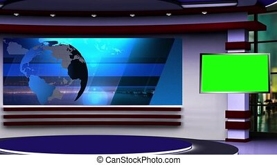 News TV Studio Set 107 - Virtual Green Screen