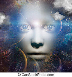 human face with universe background