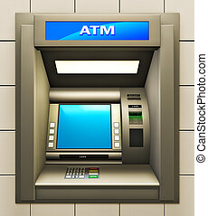 ATM - Illustration of cash machine. Made in 3d.