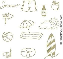 Picnic set beach doodle