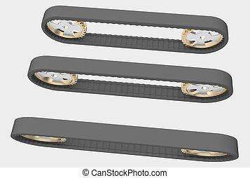conveyor belt with steel cogwheels - Black conveyor belt...