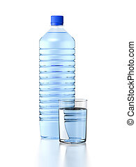 mineral water - Plastic bottle and glass of mineral water....
