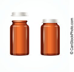 Medical Glass Brown Bottle. Vector