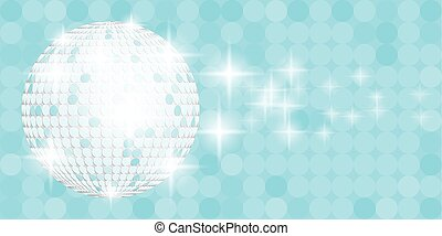 Blue disco ball with sparkles on blue background...