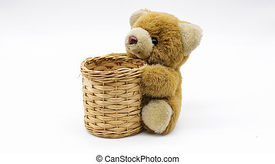 Teddy Bear hug basket  isolate on white background